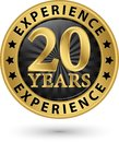 20 years experience gold label, vector illustration Royalty Free Stock Photo