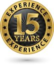 15 years experience gold label, vector