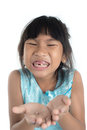 6 years old child has lost the baby tooth. Royalty Free Stock Photo