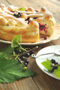 Yeast dough pie with black currant fresh Stock Photo