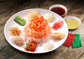 Yee Sang, a Chinese new year celebration dish Royalty Free Stock Photo