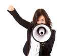 Yelling businesswoman with megaphone Stock Image