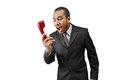 Yelling man business over the phone Stock Image