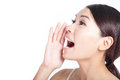Yelling woman mouth closeup Royalty Free Stock Photo