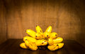 Yello banana still life on wooden background nature Stock Images