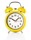 Yellow alarm clock isolated on white background Royalty Free Stock Photography