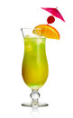 Yellow alcohol cocktail with orange slice  Royalty Free Stock Images