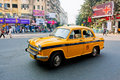 Yellow Ambassador taxi car in Kolkata Royalty Free Stock Photo