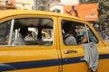 Yellow Ambassador taxi car in Kolkata Royalty Free Stock Photo