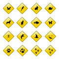 Yellow animal sign icons Royalty Free Stock Photo