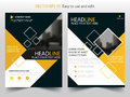 Yellow annual report brochure flyer design template vector, Leaflet cover presentation abstract flat background, layout in A4 Royalty Free Stock Photo