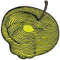 Yellow apple engraved Royalty Free Stock Photo