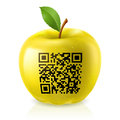 Yellow apple and QR Code Stock Photo