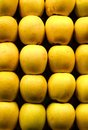 Yellow apples at market stall Royalty Free Stock Photography