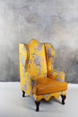 Yellow armchair, interior, pattern, provence, beautiful, wall, texture, space, text, inscription, Royalty Free Stock Photo