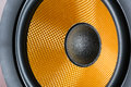 Yellow audio speaker hi fi system membrane closeup Stock Photos