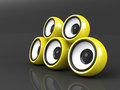 Yellow audio system over grey Stock Image