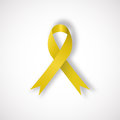 Yellow awareness ribbon Royalty Free Stock Photo
