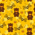 Yellow background with cute bear, bee, honey, flowers and heart. Royalty Free Stock Photo