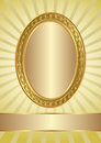 Yellow background with golden ova frame Royalty Free Stock Photos