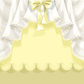 Yellow background with lace curtains and bow for your text or congratulations Royalty Free Stock Photography