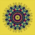 Yellow background with silhouette color flower mandala vintage decorative ornament Royalty Free Stock Photo