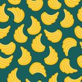Yellow bananas branches seamless pattern