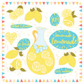 Yellow banner with lemonade and it s ingredients lemon jug ice hand lettering words homemade lemonade summer refreshing drink card Stock Images