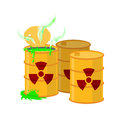 Yellow barrel with a radiation sign. Royalty Free Stock Photo