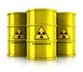 Yellow barrels with radioactive waste creative abstract nuclear power fuel manufacturing disposal and utilization industry concept Royalty Free Stock Photo
