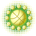 Yellow basketballs with haftone Royalty Free Stock Images
