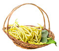 Yellow beans in a basket isolated on white background Stock Photo
