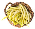 Yellow beans in a basket isolated on white background Stock Images