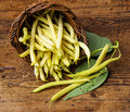 Yellow beans in a basket wooden background Royalty Free Stock Photos