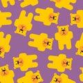 Yellow bear Mamey seamless pattern. Yellow bear in purple jelly. Royalty Free Stock Photo