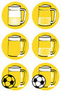 Yellow beer mugs Royalty Free Stock Images