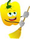 Yellow bell pepper sweeping with broom