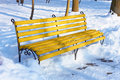 Yellow bench in winter park Royalty Free Stock Photography