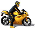 Yellow bike and biker detailed illustration vector Royalty Free Stock Photos