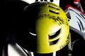 Yellow bike helmet. Royalty Free Stock Photo