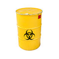 Yellow biohazard metal barrel isolated on white with black warning sign background Stock Photo
