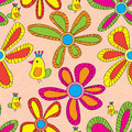 Yellow Bird Colorful Flower Seamless Pattern Royalty Free Stock Photo