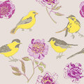 Yellow birds and flowers pattern Royalty Free Stock Photos