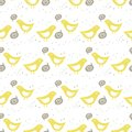 Yellow birds singing of love colorful seamless pat