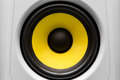 Yellow and black audio speaker Royalty Free Stock Photo