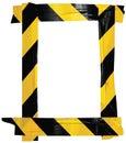 Yellow Black Caution Warning Barricade Tape Notice Sign Frame, Vertical Adhesive Sticker Background Diagonal Hazard Stripes Signal Royalty Free Stock Photo