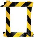 Yellow Black Caution Warning Barricade Tape Notice Sign Frame, Vertical Adhesive Sticker Background, Diagonal Hazard Stripes Royalty Free Stock Photo