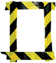 Yellow Black Caution Warning Tape Notice Sign Frame, Vertical Adhesive Sticker Background, Diagonal Hazard Stripes Safety Signal Royalty Free Stock Photo