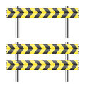 Yellow and black construction barricade on white Royalty Free Stock Image