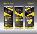 Yellow and black Roll Up Banner template and info graphics, stan